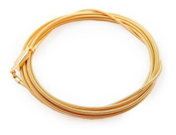 Pulseira Corda De Violão Folheado Em Ouro 18k