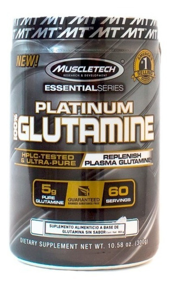Glutamina Platinum 100% Glutamine Sin Sabor 60 Serv. (300g)