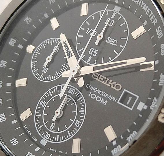 Seiko Chronograph Preto - 100m - 7t92-0lv0 Lindo Relógio.