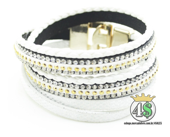 Pulseira Bracelete Couro Strass Feminina 2 Voltas 40cm