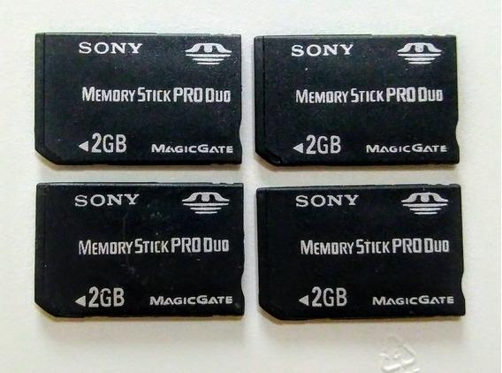 4 Cartões Memory Stick Pro Duo Sony 2 Gb