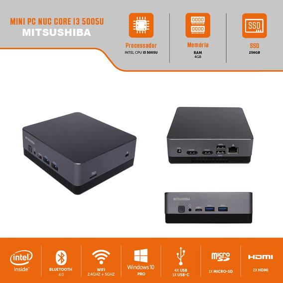 Mini Pc Nuc Core I3 5005u 4g Ssd256g Pro Mitsushiba