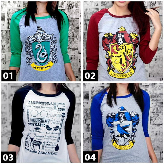 Kit 4 Camiseta Feminina Raglan Harry Potter Mais Brinde