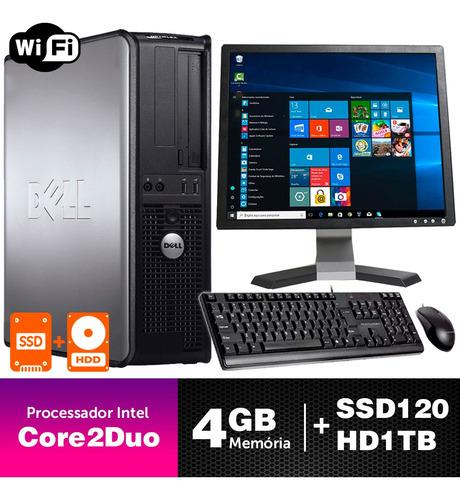 Computador Barato Dell Opt Int C2duo 4gb Ddr3 Ssd120+1tb 17q