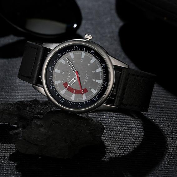 Relógio Gaiety Preto Quartz Analógico Pulseira Couro Pu