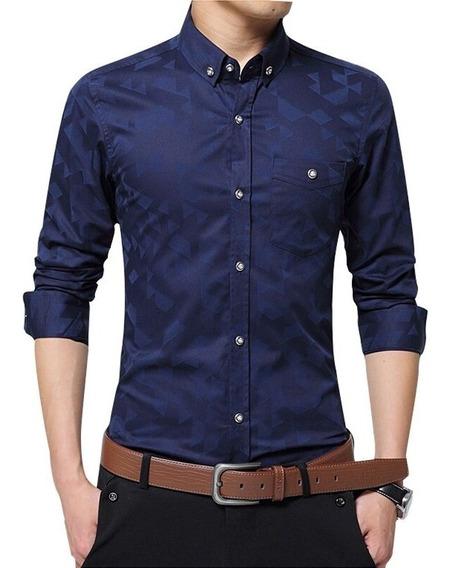 Camisa Jacquard Single Pocket Shirt Super Slim Fit Entallada
