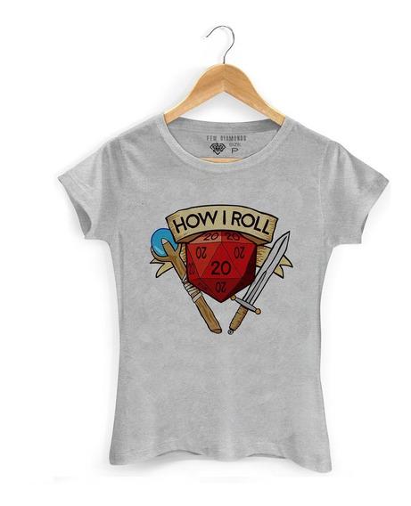 Camiseta Feminina D&d Dungeon And Dragons Dado D20 Mod 003