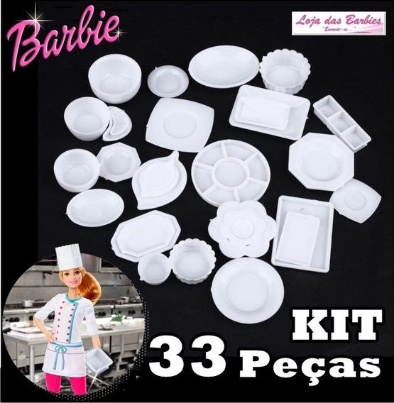 Kit Miniatura Cozinha P/ Casa De Boneca Barbie Pratos 33 Pcs