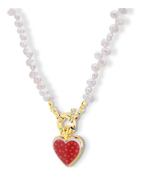 Colar De Pérolas Cultivadas Com Pingente Coração Red Love