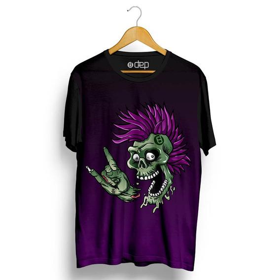 Camiseta Dep Caveira Punk Roxa