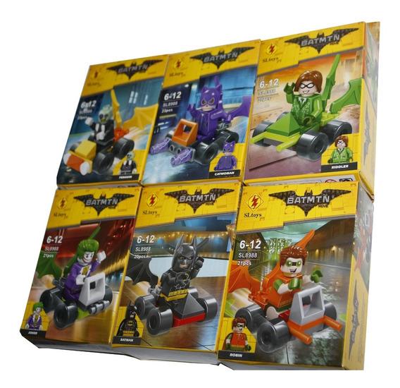 Kit 6 Bonecos E Carrinho Batman Coringa Marvel Heróis