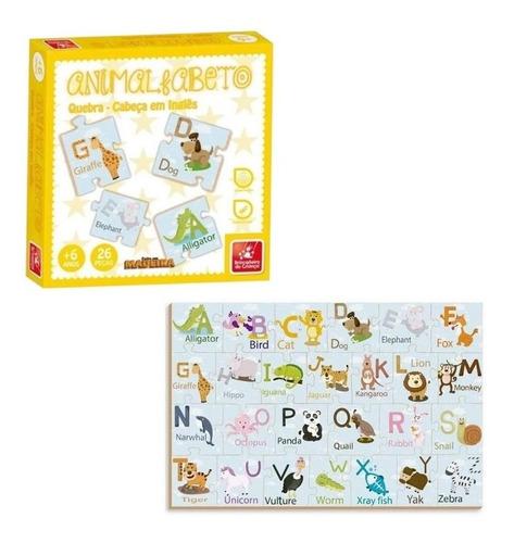 Brinquedo Educativo Quebra-cabeça Em Inglês Animalfabeto