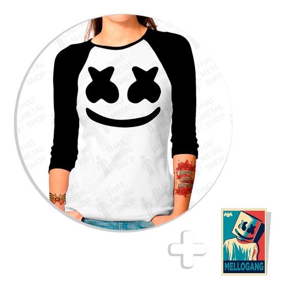 Playera Raglan Dama Marshmello + Sticker De Regalo