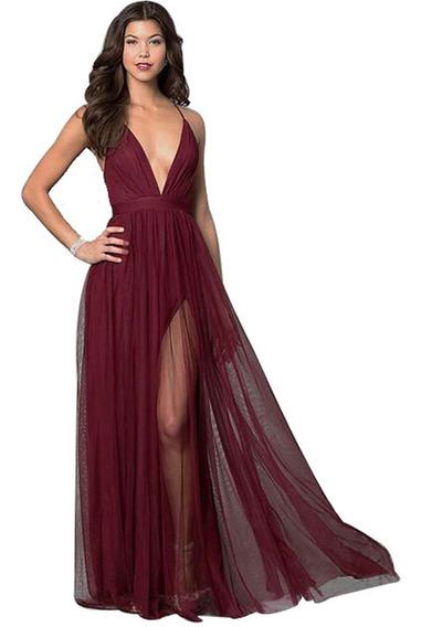 Vestidos Fiesta Largos Importado Noche Gasa Selena