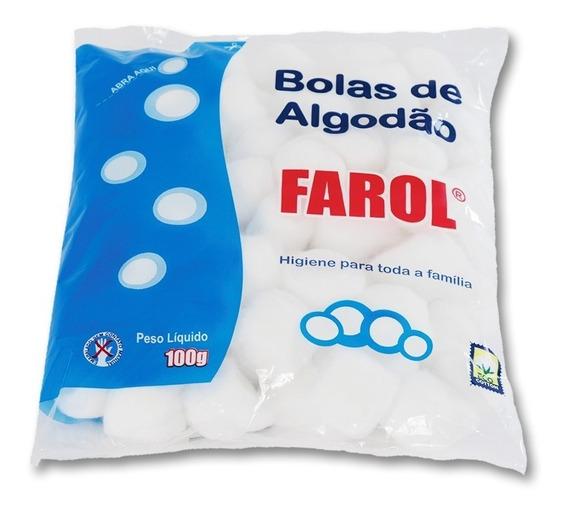 Kit C/ 5 Pacotes Algodão Em Bolas 100 Gramas Farol