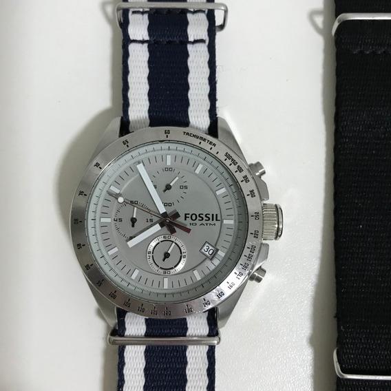 Relógio Fóssil Masculino Prata Usado Original Pulseira Nylon