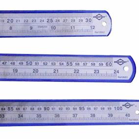 Kit De Réguas 30 Cm, 60 Cm E 1 Metro Aço Inox Brasfort