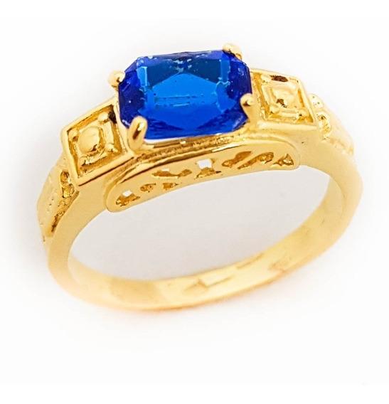 Anel Masculino Azul Safira Formatura Folheado Ouro 18k. A101
