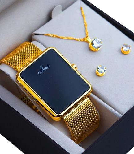 Imagem 1 de 8 de Relógio Digital Feminino Champion Dourado Ch40080v Quadradoo