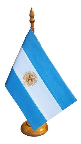 Bandera Argentina Cerem. Escritorio C/mástil De Mad (104034)