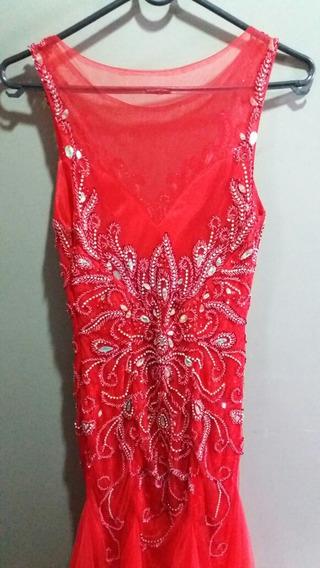 Vestido Longo Vermelho Com Pedraria (usado 3 Vezes)