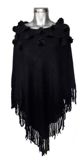 Capa Abrigo Poncho Motitas Borlas Pompon Fur
