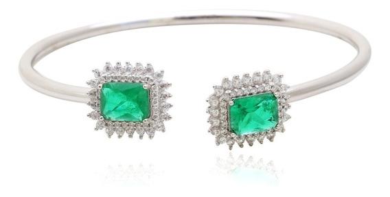 Preço De Custo! - Bracelete De Prata Com Cristal Esmeralda