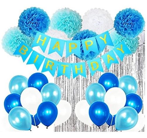 Decoración Feliz Cumpleaños Azul  Cortinas Bombas Guirnalda