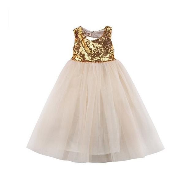 Vestido Nena Fiesta Largo Paillette Y Tul Talles 2 A 6