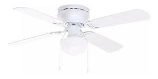 Ventilador de techo Littleton 112044 blanco y de aspas color roble blanqueado, 106.68cm de diámetro 120V