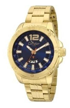 Relógio Masculino Condor Dourado Azul Co2115wx/b4a