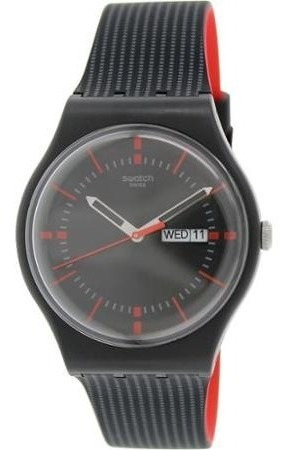 Suob714 Para Swatch Negro Silicona Reloj Hombre Cuarzo wPkn0OX8