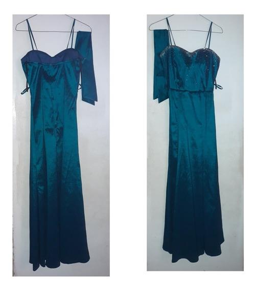 Vestido Azul Largo Elegante Dama
