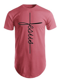 Camiseta Jesus Camisa Longline Masculina Oversized Estampada