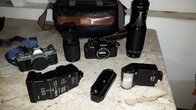 Kit Fotografico Canon Camera Av1 Ae1 Analógica Lentes Bolsa