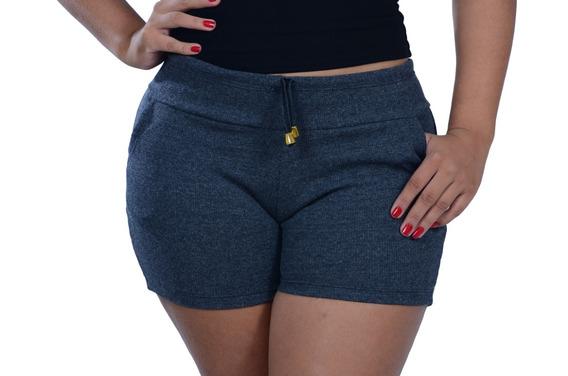 Kit 10 Short Feminino Cintura Alta Ribana Canelado Moletom