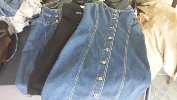 Lote 3 Vestidos Jeans / Sarja - Feminino - Neb