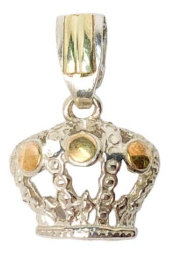 Dije Corona Plata Y Oro Chica (d282)