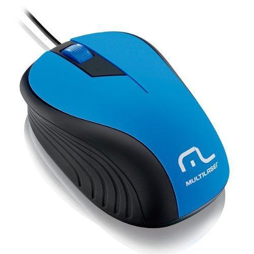 Mouse Emborrachado Azul E Preto C/ Fio Usb Mo226 Multilaser