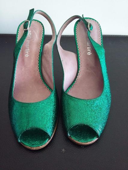 Zapatos De Fiesta. Color Verde. Sofi Martire Talle 35