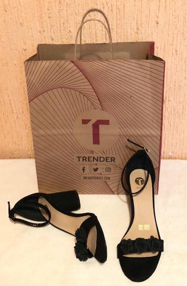 Sandalias Trender,negras,gamusa,26mex,100% Original