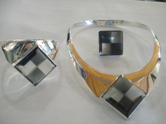 Set De Plata Collar Y Brazalete Con Cristal.