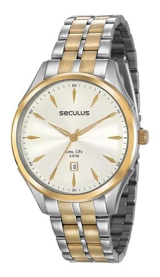 Relógio Seculus Masculino Ref: 23599gpsvba2 Casual Bicolor
