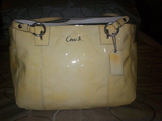Bolsa Coach Amarillo Crema Usada
