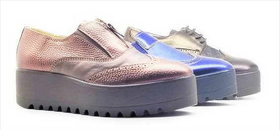 Zapato Mujer Mora Base Alta Cuero Estilo Bota Tibay Calzados