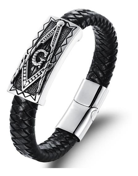 Pulseira Bracelete Couro Legítimo Maçonaria + Aço Inoxidável
