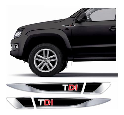 Adesivo Emblema Volkswagen Vw Amarok Tdi Resinado Cromado Aplique Lateral Carro Res25