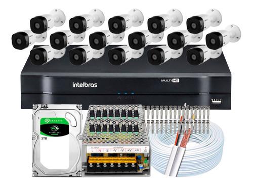Imagem 1 de 5 de Kit Cftv 16 Câmeras Segurança Intelbras Full 1220 B 1116 2tb