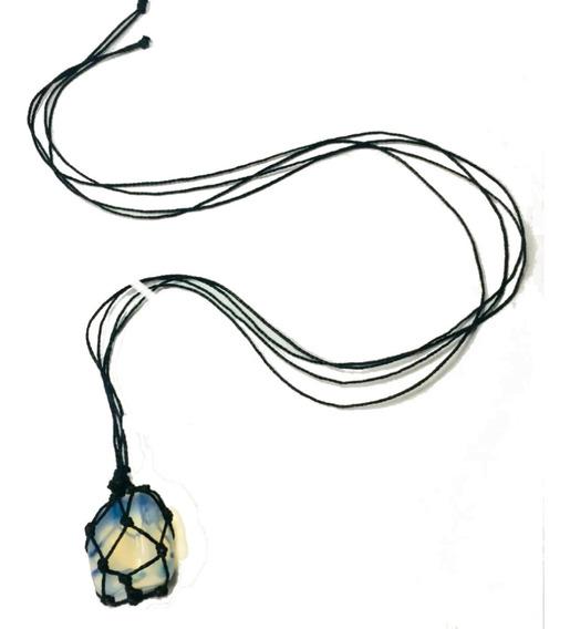 Colar Cordão Hippie Opalina Pedra Da Lua Regulável Sintética