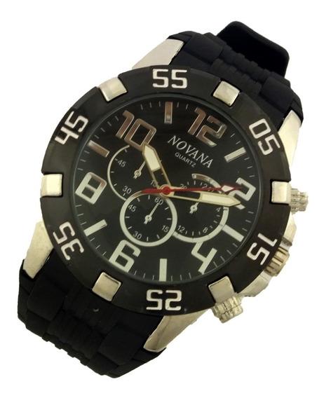Relógio Masculino Novana De Pulso Pulseira Em Borracha B5733